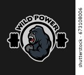 angry gorilla. sports gym logo... | Shutterstock .eps vector #673108006