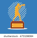 boxer's trophy vector... | Shutterstock .eps vector #673108084