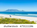 table mountain from dolphin... | Shutterstock . vector #673111186