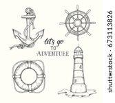 set of hand drawn doodle vector ... | Shutterstock .eps vector #673113826