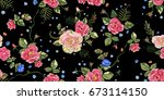 embroidery ethnic seamless... | Shutterstock .eps vector #673114150