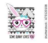 cute bunny girl cartoon  happy... | Shutterstock .eps vector #673120108