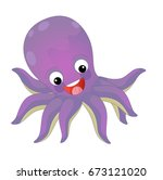 cartoon happy and funny sea... | Shutterstock . vector #673121020