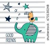 cute elephant and bird cartoon  ... | Shutterstock .eps vector #673130248