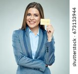 smiling businesswoman holding... | Shutterstock . vector #673133944
