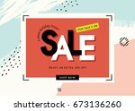 sale banner template design.... | Shutterstock .eps vector #673136260