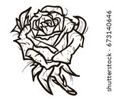 rose tattoo vector on white... | Shutterstock .eps vector #673140646