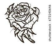 rose tattoo vector on white... | Shutterstock .eps vector #673140646