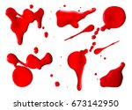 collection of dripping red... | Shutterstock . vector #673142950