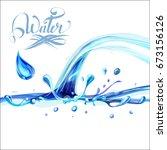 blue water splashing drops ... | Shutterstock .eps vector #673156126