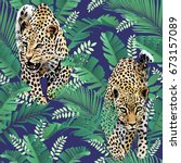 cheetah and leopards palm... | Shutterstock .eps vector #673157089