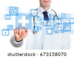 medical doctor showing icons of ... | Shutterstock . vector #673158070