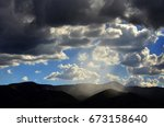 sun rays in clouds with... | Shutterstock . vector #673158640