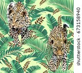 cheetah and leopards palm... | Shutterstock . vector #673158940