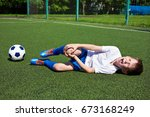 injury of the knee in the boy... | Shutterstock . vector #673168249