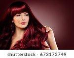 fashion portrait of beautiful... | Shutterstock . vector #673172749
