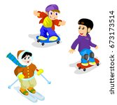 skateboarding and skiing | Shutterstock . vector #673173514