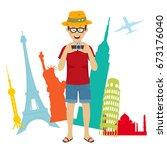 happy tourist photographer man... | Shutterstock .eps vector #673176040