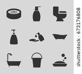 bath icons set.   | Shutterstock .eps vector #673176808