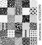 hand drawn seamless patterns... | Shutterstock .eps vector #673181590