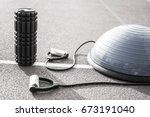 close up of a bosu ball on a... | Shutterstock . vector #673191040