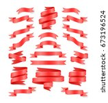set of hand drawn red satin...   Shutterstock .eps vector #673196524