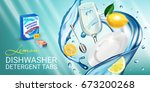 lemon fragrance dishwasher... | Shutterstock .eps vector #673200268
