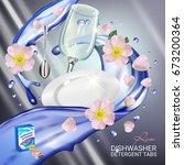 rose fragrance dishwasher... | Shutterstock .eps vector #673200364
