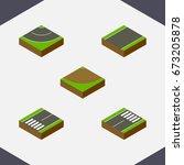 isometric road set of footer ...   Shutterstock .eps vector #673205878
