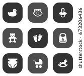 set of 9 baby icons set... | Shutterstock .eps vector #673206436