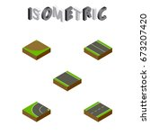 isometric road set of driveway  ... | Shutterstock .eps vector #673207420
