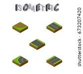 isometric road set of driveway  ... | Shutterstock .eps vector #673207420