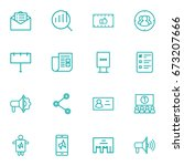 set of 16 trade outline icons... | Shutterstock .eps vector #673207666