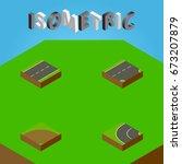 isometric way set of driveway ... | Shutterstock .eps vector #673207879
