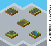 isometric road set of plash ... | Shutterstock .eps vector #673209283
