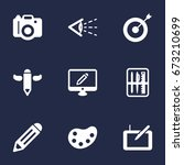set of 9 creative icons set... | Shutterstock .eps vector #673210699