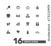 set of 16 baby icons set... | Shutterstock .eps vector #673210909