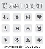 set of 12 family icons set... | Shutterstock .eps vector #673211080