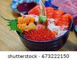 Bowl Of Chirashi Sushi With...