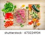 ingredients for turkey salad | Shutterstock . vector #673224934