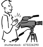 cameraman with camera black and ... | Shutterstock .eps vector #673226290