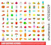 100 eating icons set in cartoon ... | Shutterstock .eps vector #673230229