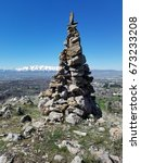 Small photo of Rock cairn on overlooking Cache Valley
