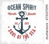 ocean spirit   vintage t shirt... | Shutterstock .eps vector #673237090