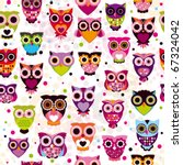 seamless colourfull owl pattern ... | Shutterstock .eps vector #67324042