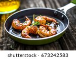 grilled honey soy shrimp | Shutterstock . vector #673242583