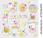 sweet girl stickers for baby... | Shutterstock .eps vector #673246204