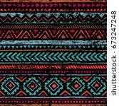 seamless vintage pattern.... | Shutterstock .eps vector #673247248