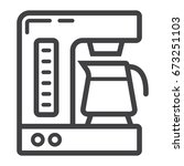 coffee maker line icon  kitchen ... | Shutterstock .eps vector #673251103