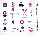 nautical collection  marine... | Shutterstock .eps vector #673270114